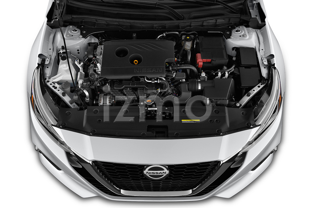 Car Stock 2019 Nissan Altima SR-FWD 4 Door Sedan Engine  high angle detail view