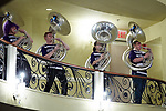 Members of the High Point Panthers pep band play the school fight song prior to the ceremony at the Hayworth Fine Arts Center on the campus of High Point University on March 27, 2018 in High Point, North Carolina.  (Brian Westerholt/Sports On Film)