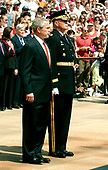 Washington, D.C. - May 29, 2006 -- United States President George W. Bush and first lady Laura Bush participate in a wreath laying ceremony at the Tomb of the Unknowns at Arlington National Cemetery in Arlington, Virginia  on May 29, 2006.  The President and first lady were at Arlington for the annual Memorial Day Commemoration honoring fallen American heroes.<br /> Credit: Ron Sachs  - Pool via CNP