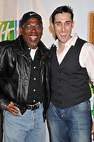 "ALFONSO FREEMAN & PAUL J. ALESSI.5th Annual Hollyshorts Film Festival Screening of ""Knuckle Draggers"" held at Laemmle's Sunset 5 Theatre, West Hollywood, CA, USA..August 12th, 2009.half length white shirt grey gray waistcoat black leather jacket glasses nike symbol baseball cap hat .CAP/ADM/BP.©Byron Purvis/AdMedia/Capital Pictures."