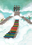 Illustrative image of students on stack of books representing graduation day