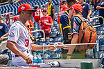 22 September 2018: Washington Nationals outfielder Michael Taylor signs autographs prior to a game against the New York Mets at Nationals Park in Washington, DC. The Nationals shut out the Mets 6-0 in the 3rd game of their 4-game series. Mandatory Credit: Ed Wolfstein Photo *** RAW (NEF) Image File Available ***