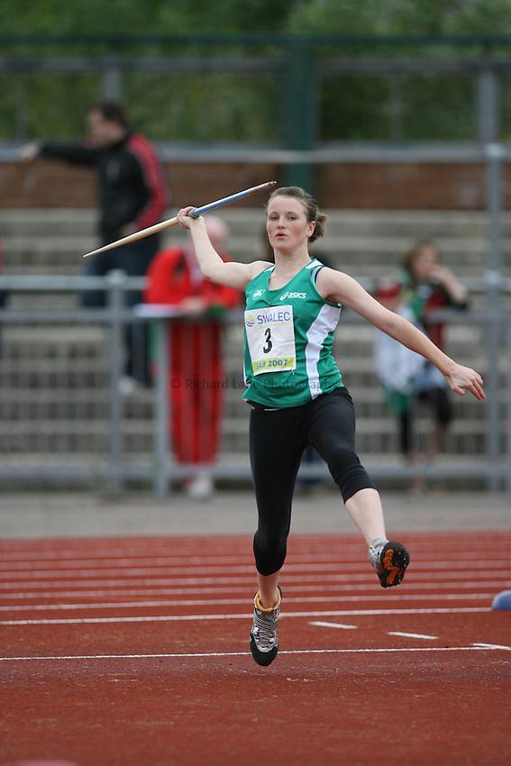 Photo: Rich Eaton...Schools International Athletic Board, Track & Field International Match, Newport. 21/07/2007. Grace O'Sullivan of Ireland competes in the girls javelin.