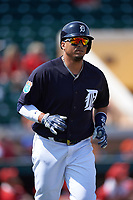 Detroit Tigers designated hitter Victor Martinez (41) jogs to first base during an exhibition game against the Florida Southern Moccasins on February 29, 2016 at Joker Marchant Stadium in Lakeland, Florida.  Detroit defeated Florida Southern 7-2.  (Mike Janes/Four Seam Images)