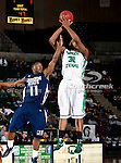 North Texas Mean Green forward Roger Franklin (32) and Jackson State Tigers guard Keeslee Stewart (11) in action during the game between the Jackson State Tigers and the University of North Texas Mean Green at the North Texas Coliseum,the Super Pit, in Denton, Texas. UNT defeated Jackson State 69 to 55.