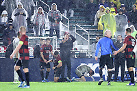 CARY, NC - DECEMBER 13: Head coach Jeremy Gunn of Stanford University companies the referee after two players knocked heads during a game between Stanford and Georgetown at Sahlen's Stadium at WakeMed Soccer Park on December 13, 2019 in Cary, North Carolina.