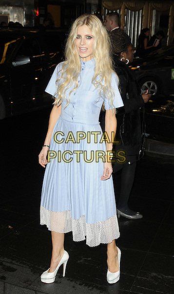 Laura Bailey.The British Fashion Awards 2012, Savoy Theatre, The Strand, London, England..November 27th, 2012.full length blue white dress netting trim mouth open.CAP/CAN.©Can Nguyen/Capital Pictures.
