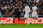 Carlos Henrique Casemiro of Real Madrid and Munir El Haddadi of Sevilla FC during La Liga match between Real Madrid and Sevilla FC at Santiago Bernabeu Stadium in Madrid, Spain. January 18, 2020. (ALTERPHOTOS/A. Perez Meca)