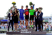 ROUBAIX, FRANCE - APRIL 9 : STYBAR Zdenek (CZE) Rider of Quick-Step Floors Cycling team, VAN AVERMAET Greg (BEL) Rider of BMC Racing Team and LANGEVELD Sebastian (NED) Rider of Cannondale - Drapac team pictured during the podium ceremony after the 115th UCI World Tour Paris - Roubaix cycling race with start in Compiegne and finish at the Velodrome Andre-Petrieux in Roubaix on April 09, 2017 in Roubaix, France, 9/04/2017<br /> Foto Insidefoto <br /> ITALY ONLY