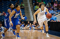 NORFOLK, VA--Erica Payne breaks downcourt against Hampton University at the Ted Constant Convocation Center at Old Dominion University in Norfolk, VA in the first round of the 2012 NCAA Championships. The Cardinal advanced with a 73-51 win to play West Virginia on Monday, March 19.
