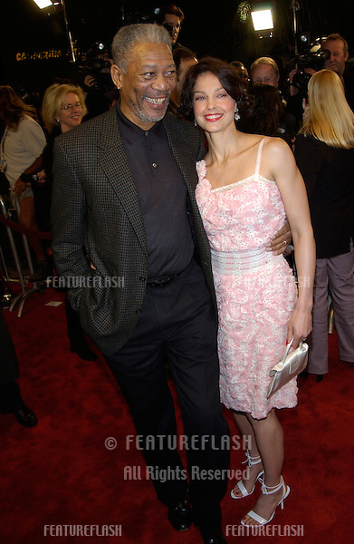 Actress ASHLEY JUDD & actor MORGAN FREEMAN at the Los Angeles premiere of their new movie High Crimes..03APR2002.  © Paul Smith / Featureflash