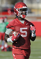 NWA Democrat-Gazette/ANDY SHUPE<br /> Arkansas receiver Brandon Martin makes a catch Tuesday, March 28, 2017, during spring practice at the UA practice facility in Fayetteville.