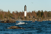 Rocks abound in the shallows of the Vaasa Archipelago around Korsö Lighthouse in the Gulf of Bothnia.