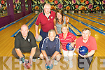 9282-9286.Ten Pin Tournament - Competing in the Ballyroe Heights Hotel Sunday Morning Bowling Blitz held in Bowling Buddies, Manor West on Sunday morning were front l/r Con Spring, St Brendan's Pk., Bertie O'Mullane, Cork, Ingrid Britz, Clare and Haulie Storan, Clare, back l/r Noel Horrigan, Limerick and  Prop. Bowling Buddies Jacqui Lythgoe ................................................................................................................................................................................................. ............