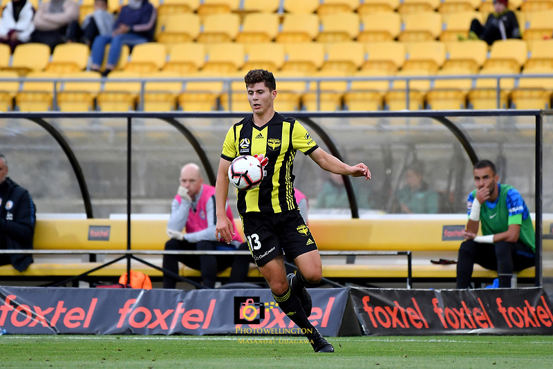 Wellington Phoenix&rsquo; Liberato Cacace in action during the A League - Wellington Phoenix v Melbourne City FC at Westpac Stadium, Wellington, New Zealand on Saturday 26 January 2019. <br /> Photo by Masanori Udagawa. <br /> www.photowellington.photoshelter.com