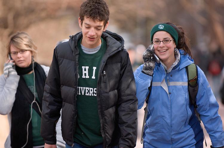 Student Samara Katz with visitor Robert Abrams from Shaker Hts.