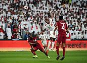 29th January 2019, Mohammed bin Zayed Stadium, Abu Dhabi, United Arab Emirates; AFC Asian Cup football semi final, Qatar versus United Arab Emirates; Saif Rashid of United Arab Emirates wins the header over Abdelkarim Hassan of Qatar