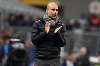 6th November 2019, Milan, Italy; UEFA Champions League football, Atalanta versus Manchester City; Josep Guardiola coach of Manchester City tries to raise his players game