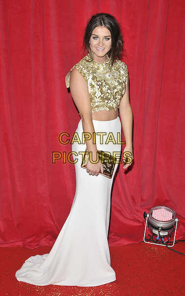 LONDON, ENGLAND - MAY 24: Brooke Vincent attends the British Soap Awards 2014, Hackney Empire, Mare St., on Saturday May 24, 2014 in London, England, UK.<br /> CAP/CAN<br /> &copy;Can Nguyen/Capital Pictures