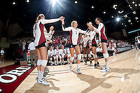 STANFORD, CA - September 2, 2010: Carly Wopat (2) during a volleyball match against UC Irvine in Stanford, California. Stanford won 3-0.