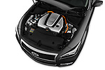 Car Stock 2016 Infiniti Q70 Premium 4 Door Sedan Engine  high angle detail view