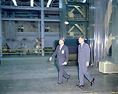 United States President John F. Kennedy visited Marshall Space Flight Center (MSFC) in Huntsville, Alabama on September 11, 1962. Here President Kennedy and Dr. Wernher von Braun, MSFC Director, tour one of the laboratories..Credit: NASA via CNP