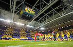 Solna 2015-11-14 Fotboll EM-kval , Sverige - Danmark :  <br /> Sveriges spelare g&ouml;r entr&eacute; p&aring; planen medan Sveriges supportrar har ett tifo p&aring; l&auml;ktarna inf&ouml;r matchen mellan Sverige och Danmark <br /> (Photo: Kenta J&ouml;nsson) Keywords:  Sweden Sverige Solna Stockholm Friends Arena EM Kval EM-kval UEFA Euro European 2016 Qualifying Qualifier Playoff Denmark Danmark inomhus interi&ouml;r interior supporter fans publik supporters