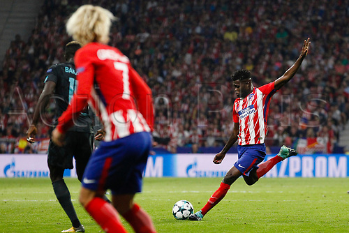 27th September 2017, Wanda Metropolitano, Madrid, Spain; UEFA Champions League, Atletico Madrid versus Chelsea; Thomas Teye Partey (5) Atletico de Madrid plays long upfield