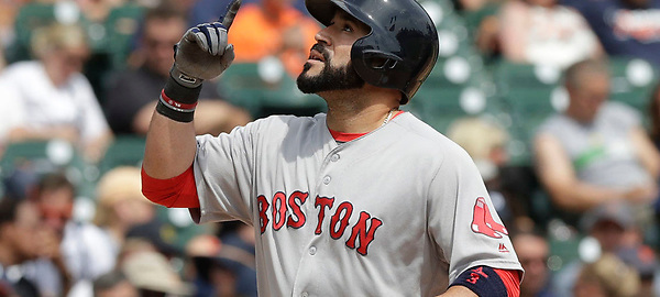 Boston Red Sox's Sandy Leon points skyward as he scores on his solo home run during the fourth inning of a baseball game against the Detroit Tigers, Thursday, Aug. 18, 2016, in Detroit. (AP Photo/Carlos Osorio)