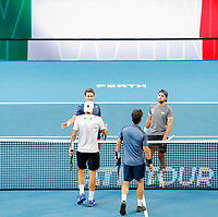 5th January 2020; RAC Arena, Perth, Western Australia; ATP Cup Australia, Perth, Day 3; Italy versus Norway; Simone Bolelli and Fabio Fogging of Italy and Casper Ruud and Viktor Durasovic of Norway shake hands after Italy won the doubles - Editorial Use
