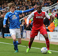 Fleetwood Town's Amari'i Bell tries to escape the attentions of Peterborough United's Chris Forrester<br /> <br /> Photographer David Shipman/CameraSport<br /> <br /> The EFL Sky Bet League One - Peterborough United v Fleetwood Town - Friday 14th April 2016 - ABAX Stadium  - Peterborough<br /> <br /> World Copyright &copy; 2017 CameraSport. All rights reserved. 43 Linden Ave. Countesthorpe. Leicester. England. LE8 5PG - Tel: +44 (0) 116 277 4147 - admin@camerasport.com - www.camerasport.com