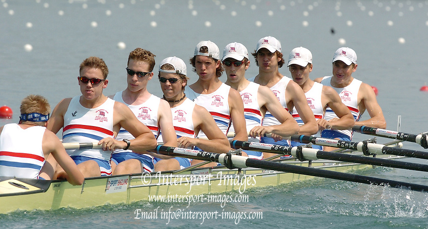2004_Junior_Non_Olympics_Worlds_Lake Banyoles_Spain.30.07.2004 Friday - Photo  Peter Spurrier .email images@intersport-images.com.Tel +44 7973 819 551 .GBR JM8+ Bow Jonty McNuff, 2. William Verril, 3. William Ferguson, 4. Matthew Evans, 5. Nicholas Stiles, 6. Brian Cullen, 7. Jonathen Watkins, Stroke Thomas Winterton and Cox - Deane McCloy Rowing Course: Lake Banyoles, SPAIN . [Mandatory Credit: Peter Spurrier: Intersport Images].