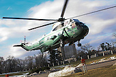 Marine 1, with United States President Barack Obama aboard, departs the National Naval Medical Center in Bethesda, Maryland where he underwent a physical examination done on a yearly basis on February 28, 2010.  .Credit: Gary Fabiano / Pool via CNP