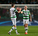 Mikael Lustig and Scott Brown of Celtic celebrate during the Champions League Group C match at the Celtic Park Stadium, Glasgow. Picture date: September 28th, 2016. Pic Simon Bellis/Sportimage