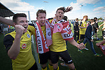 Visiting players celebrating promotion after East Stirlingshire hosted Edinburgh City in the second leg of the Scottish League pyramid play-off at Ochilview Park, Stenhousemuir. The play-offs were introduced in 2015 with the winners of the Highland and Lowland Leagues playing-off for the chance to play the club which finished bottom of Scottish League 2. Edinburgh City won the match 1-0 giving them a 2-1 aggregate victory making them the first club in Scottish League history to be promoted into the league.