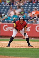 Toledo Mud Hens Mikie Mahtook (9) leads off during an International League game against the Durham Bulls on July 16, 2019 at Fifth Third Field in Toledo, Ohio.  Durham defeated Toledo 7-1.  (Mike Janes/Four Seam Images)