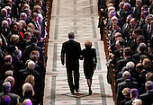 Washington, D.C. - January 2, 2007 -- United States President George W. Bush escorts former first lady Betty Ford from the Washington National Cathedral in Washington, Tuesday, January 2, 2007 during a State Funeral service for her husband, former President Gerald R. Ford.<br /> Credit: Pablo Martinez Monsivais-Pool via CNP