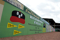 Outfield signs at Rickwood Field, the oldest surviving professional baseball park in the United States, first opening on August 18, 1910, as home for the Birmingham Barons.  Image taken on April 16, 2013 in Birmingham, Alabama.  (Mike Janes/Four Seam Images)