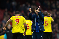 Watford manager Javi Gracia applauds the fans at the final whistle <br /> <br /> Photographer Craig Mercer/CameraSport<br /> <br /> The Premier League - Sunday 11th March 2018 - Arsenal v Watford - The Emirates - London<br /> <br /> World Copyright &copy; 2018 CameraSport. All rights reserved. 43 Linden Ave. Countesthorpe. Leicester. England. LE8 5PG - Tel: +44 (0) 116 277 4147 - admin@camerasport.com - www.camerasport.com