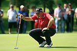 Thomas Bjorn (DEN) lines up his putt on the 5th green during Day 3 of the BMW Italian Open at Royal Park I Roveri, Turin, Italy, 11th June 2011 (Photo Eoin Clarke/Golffile 2011)