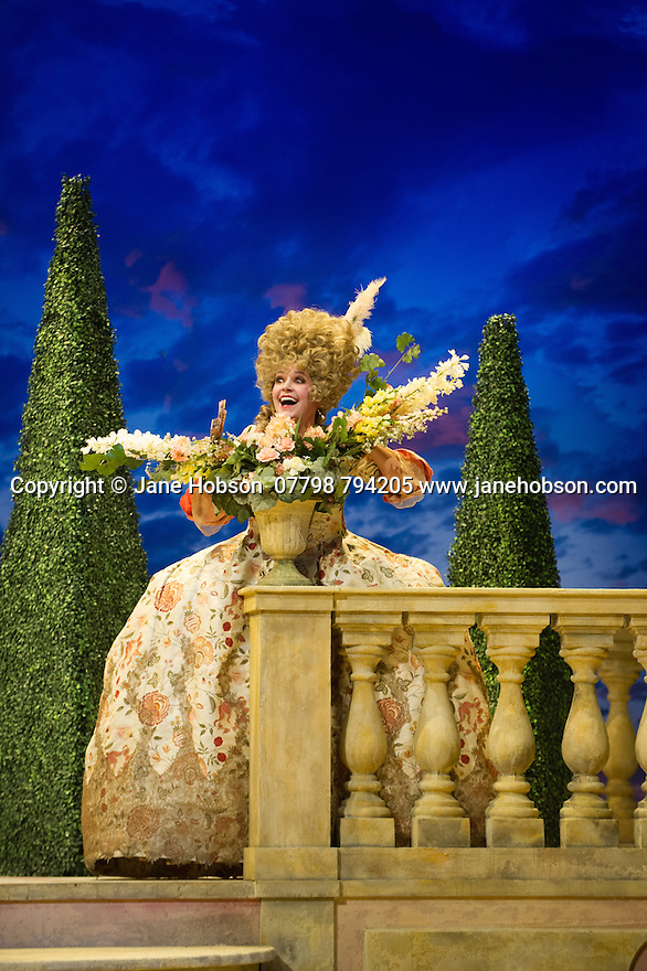 London, UK. 16.10.2014.  English Touring Opera presents LIFE ON THE MOON, by Joseph Haydn, directed by Cal McCrystal, with lighting design by Lee Curran and set & costume design by takis, at the Hackney Empire. Picture shows:  Jane Harrington (Clrice).  Photograph © Jane Hobson.