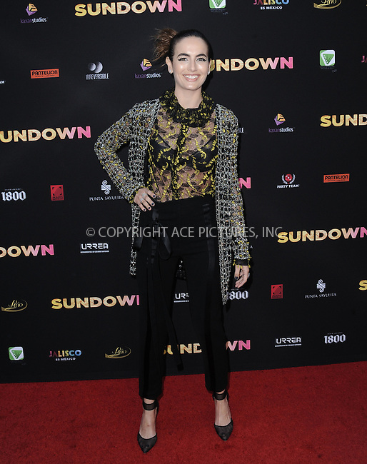 WWW.ACEPIXS.COM<br /> <br /> May 11 2016, LA<br /> <br /> Actress Camilla Belle arriving at the premiere of 'Sundown' at the ArcLight Hollywood on May 11, 2016 in Hollywood, California<br /> <br /> By Line: Peter West/ACE Pictures<br /> <br /> <br /> ACE Pictures, Inc.<br /> tel: 646 769 0430<br /> Email: info@acepixs.com<br /> www.acepixs.com