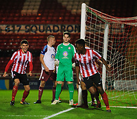 Lincoln City U18's Duncan Idehen celebrates scoring the opening goal<br /> <br /> Photographer Chris Vaughan/CameraSport<br /> <br /> The FA Youth Cup Second Round - Lincoln City U18 v South Shields U18 - Tuesday 13th November 2018 - Sincil Bank - Lincoln<br />  <br /> World Copyright © 2018 CameraSport. All rights reserved. 43 Linden Ave. Countesthorpe. Leicester. England. LE8 5PG - Tel: +44 (0) 116 277 4147 - admin@camerasport.com - www.camerasport.com