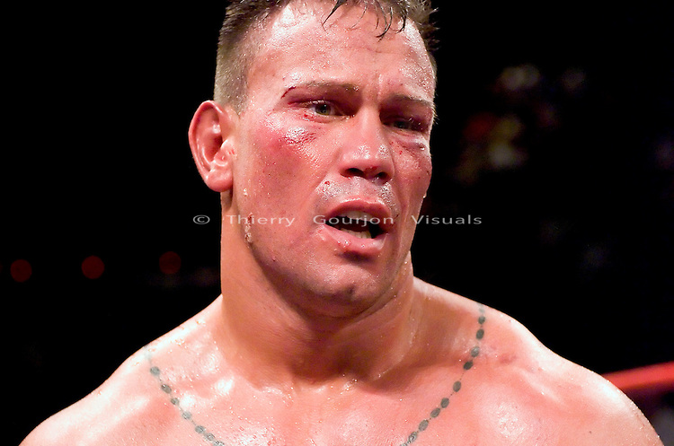 Vinny Maddalone in the ring after being  knocked out by  Brian Minto during their 10 rounds Heavyweight fight at the Taj Mahal Casino in Atlantic City, NJ on  07.23.04. Minto won by KO in the 10th round