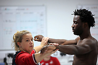 Pictured: Wilfried Bony goes through his medical with club physiotherapist Kate Rees at the Fairwood Training Ground, Wales, UK. Thursday 31 August 2017<br />Re: Wilfried Bony has signed a contract with Swansea City FC.