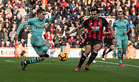 Arsenal's Hector Bellerin (right)  under pressure from Bournemouth's Charlie Daniels (right) <br /> <br /> Photographer David Horton/CameraSport<br /> <br /> The Premier League - Bournemouth v Arsenal - Sunday 25th November 2018 - Vitality Stadium - Bournemouth<br /> <br /> World Copyright &copy; 2018 CameraSport. All rights reserved. 43 Linden Ave. Countesthorpe. Leicester. England. LE8 5PG - Tel: +44 (0) 116 277 4147 - admin@camerasport.com - www.camerasport.com