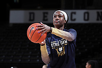 WINSTON-SALEM, NC - FEBRUARY 06: Destinee Walker #24 of the University of Notre Dame during a game between Notre Dame and Wake Forest at Lawrence Joel Veterans Memorial Coliseum on February 06, 2020 in Winston-Salem, North Carolina.