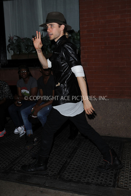 WWW.ACEPIXS.COM<br /> August 27, 2013 New York City<br /> <br /> Jared Leto leaving his SoHo Hotel in New York City on August 27,  2013.<br /> <br /> By Line: Kristin Callahan/ACE Pictures<br /> ACE Pictures, Inc.<br /> tel: 646 769 0430<br /> Email: info@acepixs.com<br /> www.acepixs.com<br /> Copyright:<br /> Kristin Callahan/ACE Pictures
