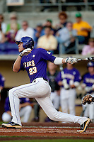 LSU Tigers second baseman JaCoby Jones #23 follows through against the Mississippi State Bulldogs during the NCAA baseball game on March 17, 2012 at Alex Box Stadium in Baton Rouge, Louisiana. The 10th-ranked LSU Tigers beat #21 Mississippi State, 4-3. (Andrew Woolley / Four Seam Images).