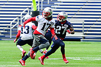 June 7, 2017: New England Patriots defensive back Dwayne Thomas (27) covers wide receiver DeAndrew White (17) at the New England Patriots mini camp held on the practice field at Gillette Stadium, in Foxborough, Massachusetts. Eric Canha/CSM